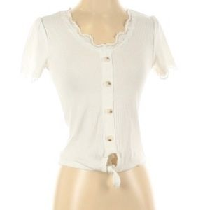 Caution to the Wind Ribbed Top w/ Buttons & Lace